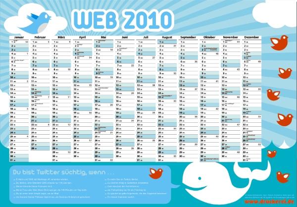 druckerei.de kalender2010 twitter - kostenlose Wandkalender für 2010 von druckerei.de