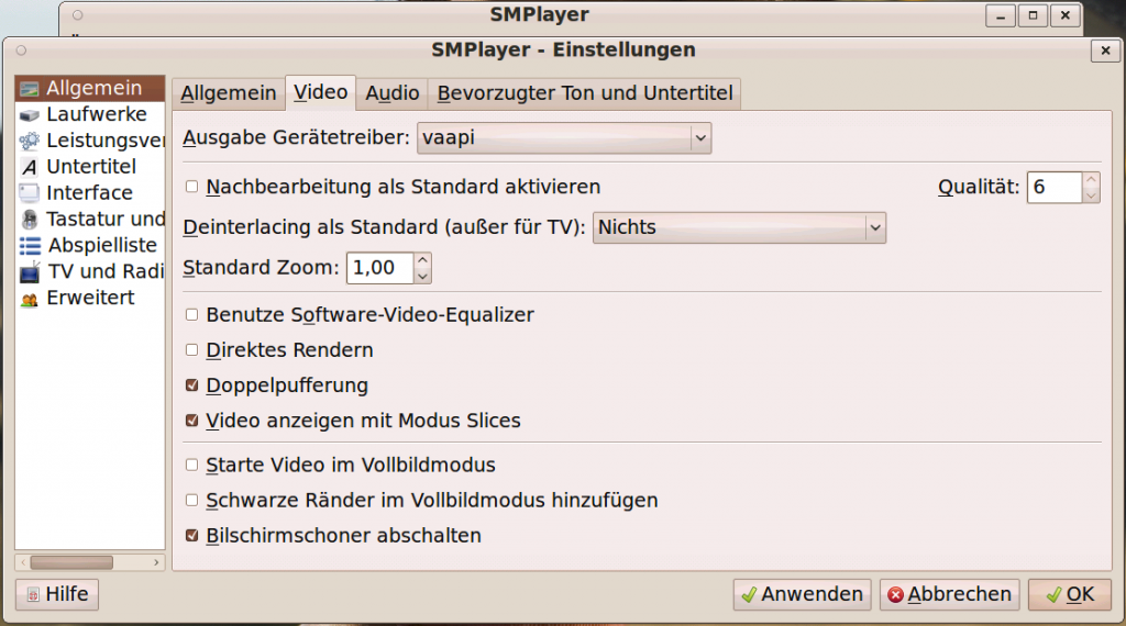 Linux SMPlayer VAAPI Settings #2