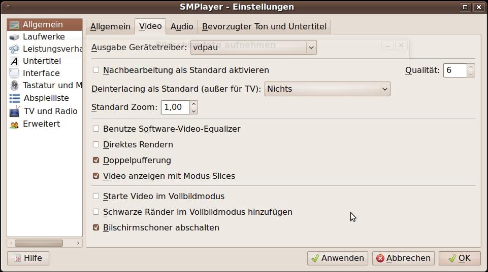 Ubuntu SMplayer VDPAU