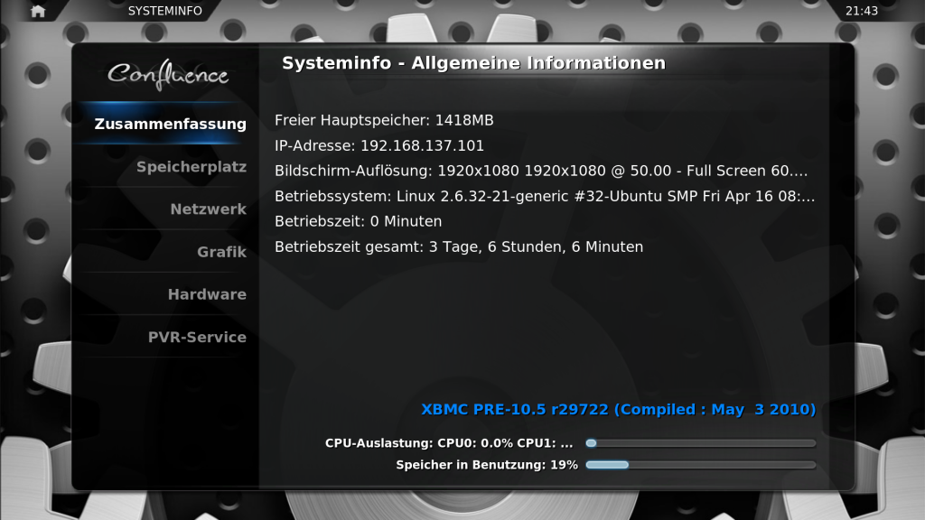 xbmc all in one sysinfo 1024x576 - All-in-One HowTo - Ubuntu 10.04 - Installation & Konfiguration von NVIDIA VDPAU, VDR mit VNSI-Server & XBMC PVR-TESTING2