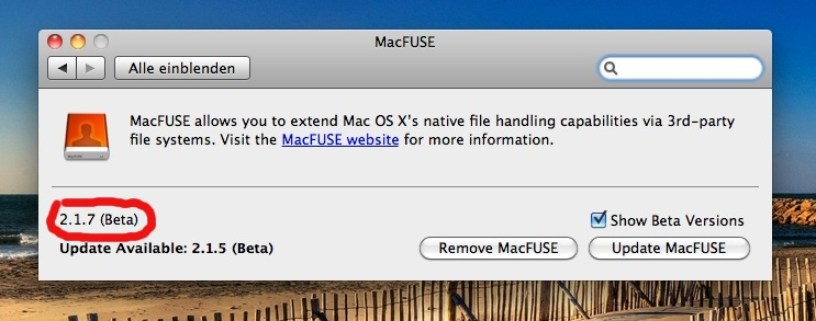 Apple Mac OSX MacFuse 2.1.7