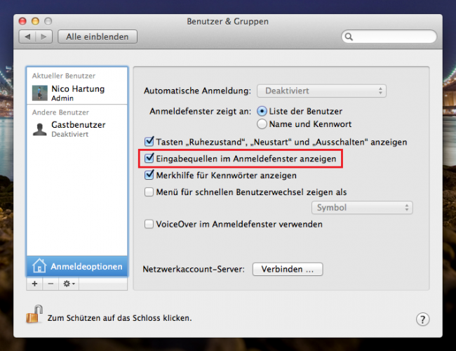 Apple Mac OS X - Anmeldeoptionen