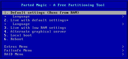 Parted Magic - Bootmenü - Runs_from RAM