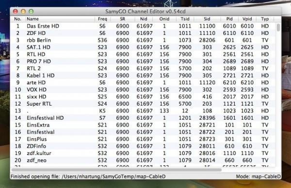SamyGO ChanEdit für Mac OS X und Linux