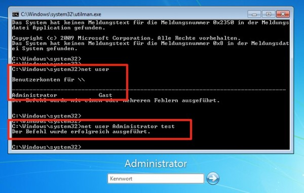 Windows 7 - Passwort ändern - net user
