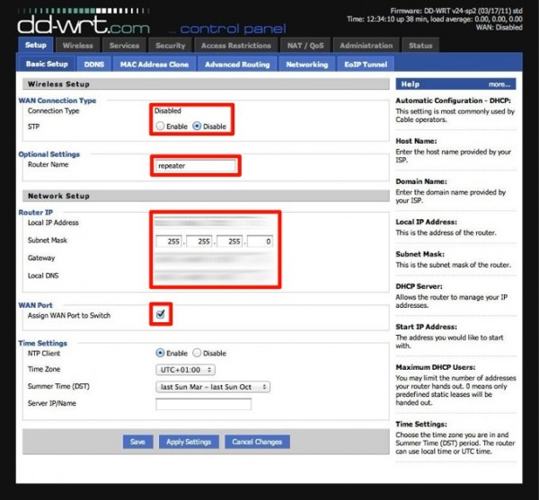 TL-WR1043ND – DD-WRT – Basic Setup