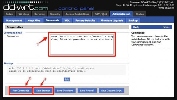 tp link wr1043nd dd wrt 08 commands save startup 600x339 - DD-WRT – automatischer Neustart, jede Nacht