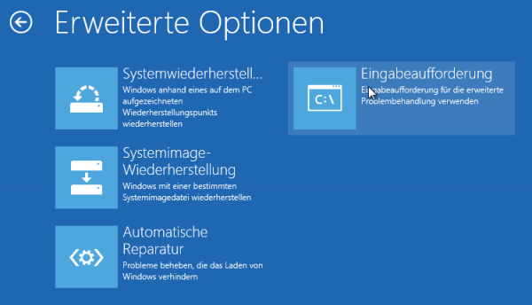 Windows 8 - Computerreparaturoptionen