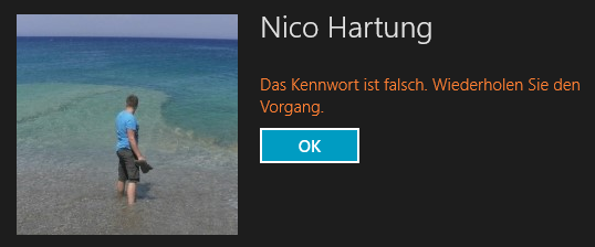 Windows 8 - Kennwort falsch