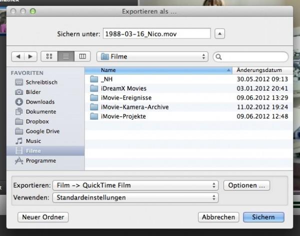 iMovie - Mit QuickTime exportieren ...