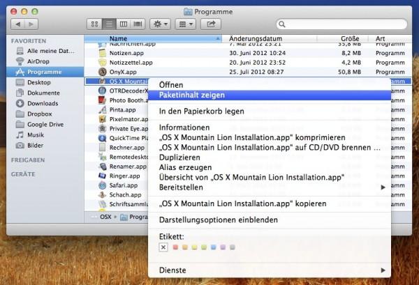 Mac OS X 10.8 - Mountain Lion - Paketinhalt anzeigen