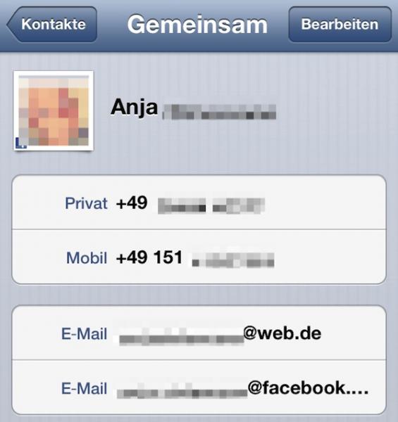 iOS 6 - verknüpfter Facebook-Kontakt mit Facebook-Mailadresse
