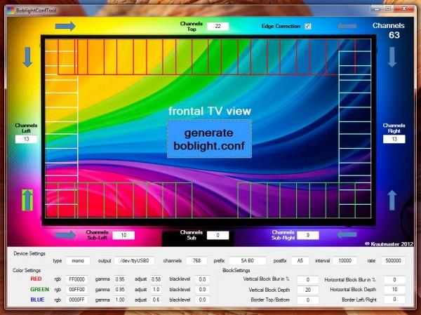SEDU-Ambilight – BoblightConfigTool - boblight.conf erzeugen