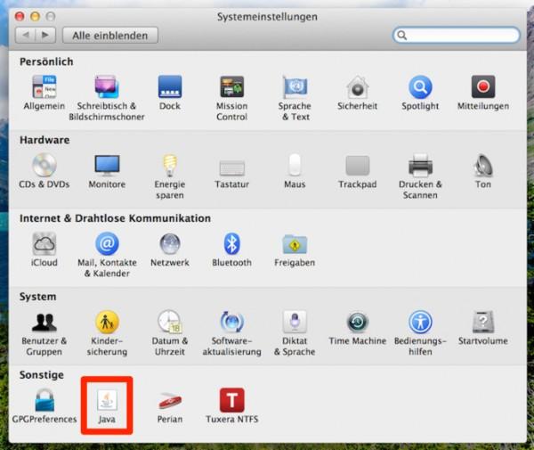 Mac OS X - Systemeinstellungen Java