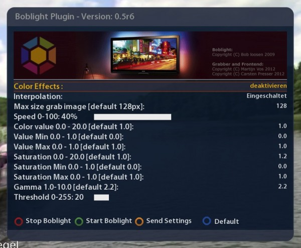 SEDU Ambilight - Dreambox - Boblight Plugin