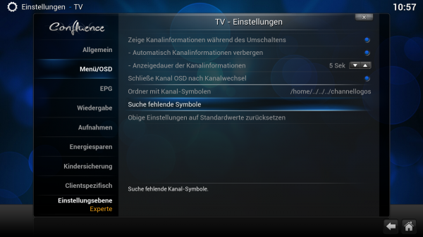 XBMC - Live TV - Kanal-Symbole