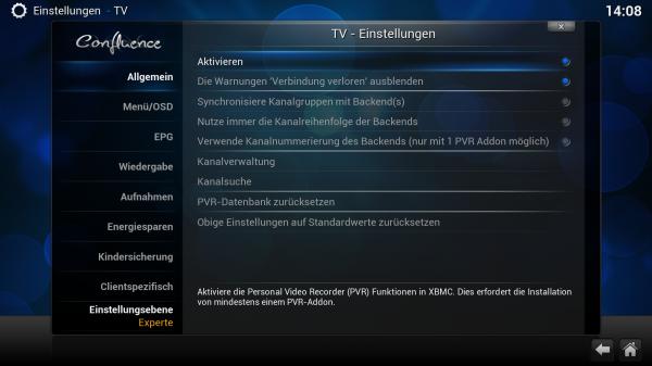 XBMC - Live TV aktivieren