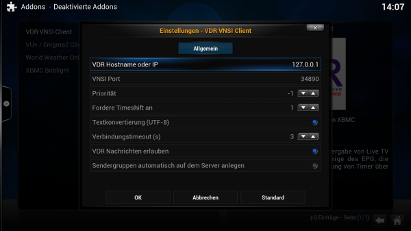 XBMC - VDR VNSI Client - Konfiguration