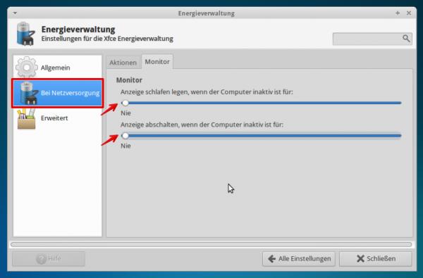 xfce screen sleep 600x395 - Projekt Media-PC - Xubuntu - Konfiguration