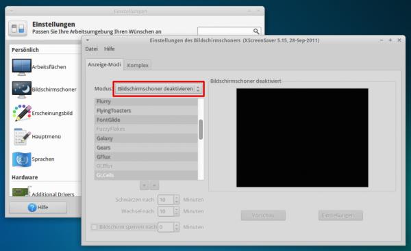 XFCE - Bildschirmschoner