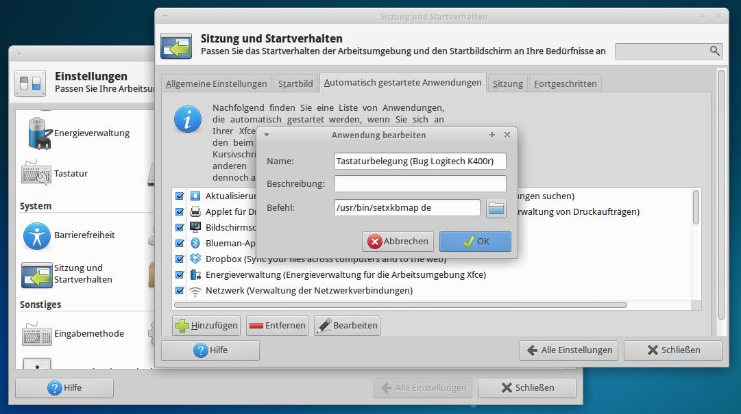 X)Ubuntu – deutsches Tastaturlayout – schnurlose Logitech