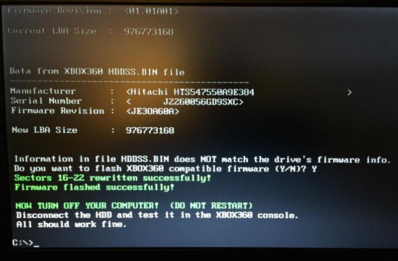 HDDHACKR - Flashen erfolgreich