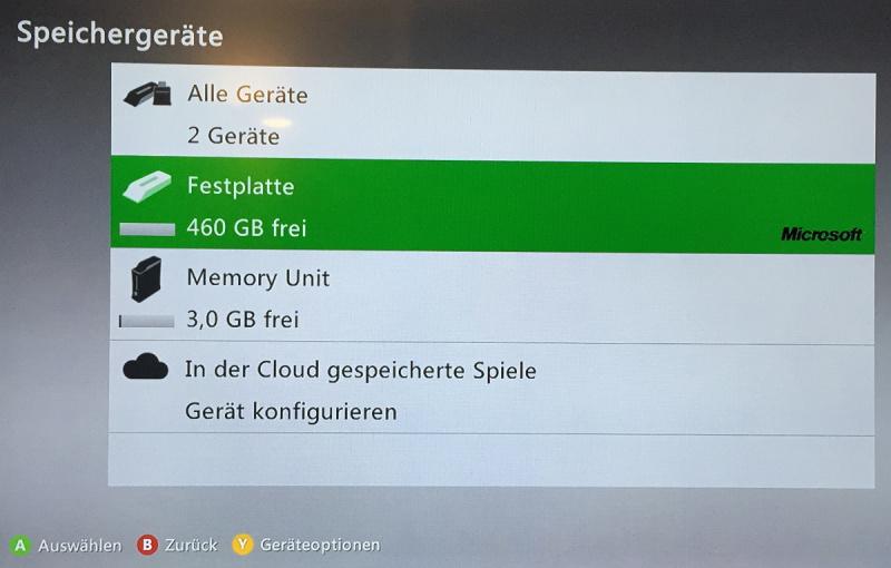 Xbox 360 Slim - Speicherübersicht