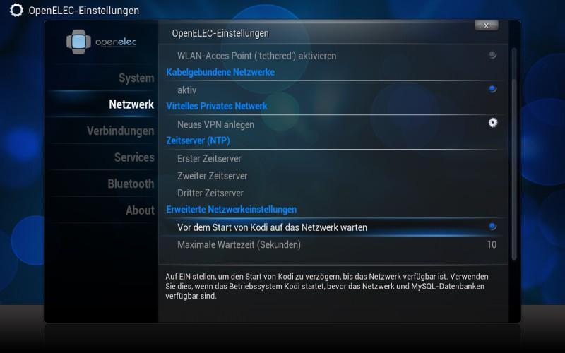 OpenELEC - Einstellungen - Netzwerk