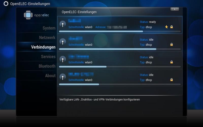 OpenELEC - Einstellungen - WLAN