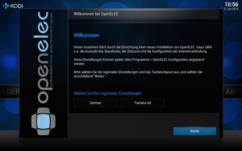 OpenELEC - Willkommensbildschirm - Sprachauswahl