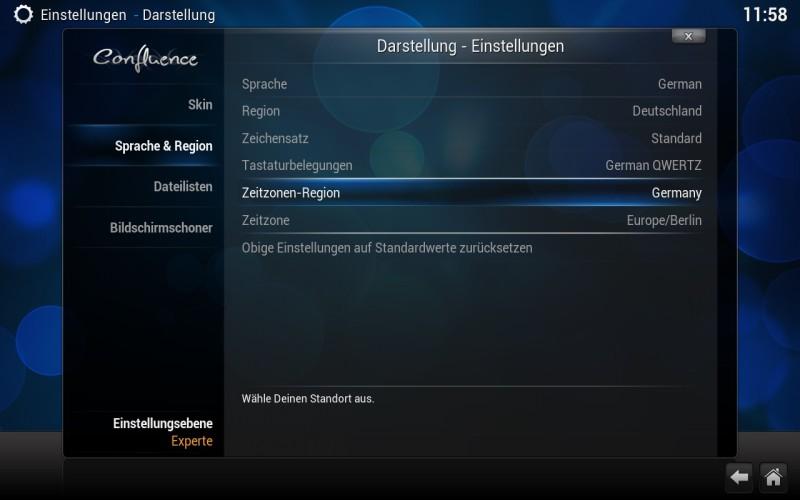 OpenELEC - Kodi Einstellungen - Sprache & Region