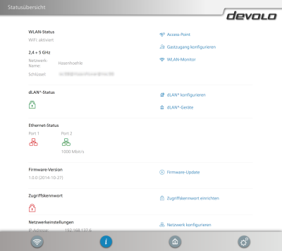 devolo webinterface 1200 wifi ac status 400x356 - Erfahrungsbericht – Devolo dLAN 1200+ WiFi ac – PowerLAN mit WLAN