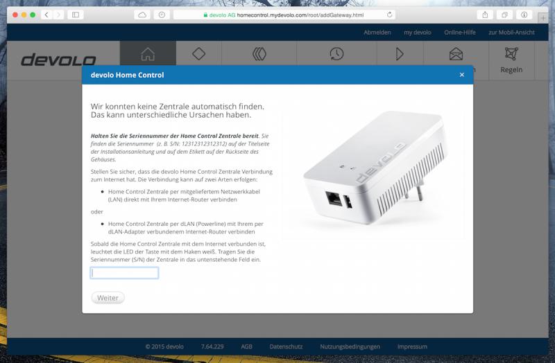 Devolo Home Control Webinterface - Zentrale hinzufügen