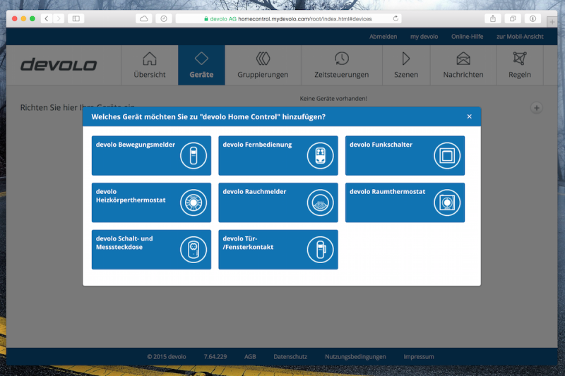 Devolo Home Control Webinterface - weitere Geräte hinzufügen