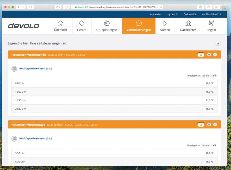 Devolo intelligentes Thermostat Heizzeiten 800x589 - Erfahrungsbericht – Devolo Home Control - Fensterkontakt und Heizkörperthermostat