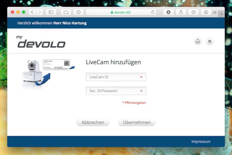 Devolo LiveCam - Webinterface hinzufügen