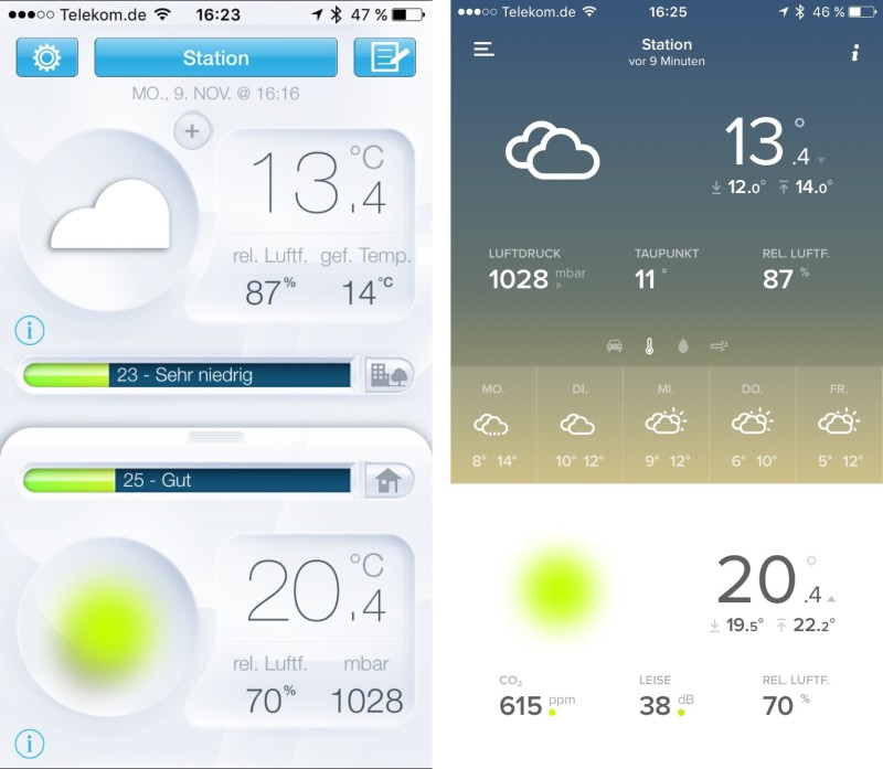 netatmo Screenshot der iOS-App - ALT vs. NEU