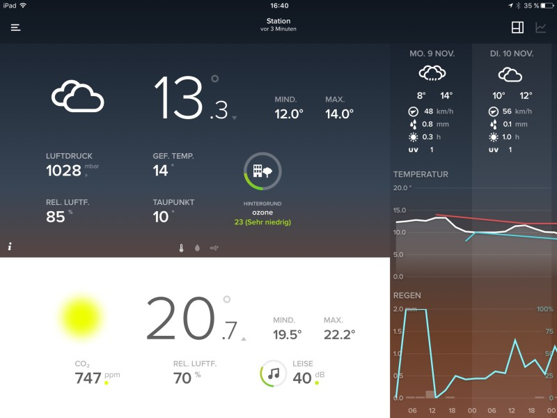 netatmo Screenshot der iPad iOS-App