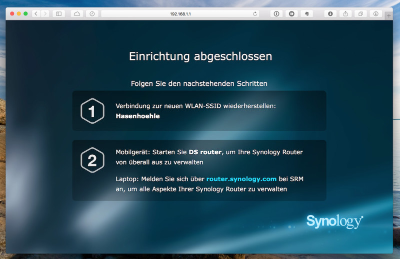synology rt1900ac firststeps done 800x519 - Erfahrungsbericht – Synology WLAN-Router RT1900ac