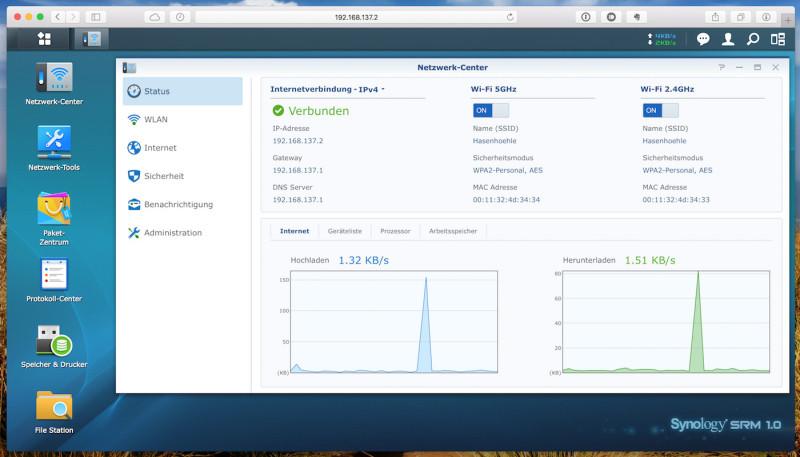 Synology RT1900ac - SRM Netzwerk-Center