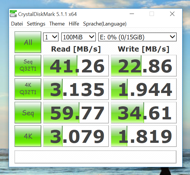 Benchmark - CrystalDiskMark - SanDisk Extreme microSDHC Class 10, U3 mit 16GB