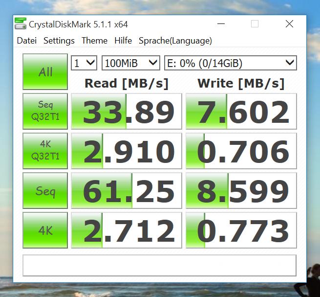 Benchmark - CrystalDiskMark - SanDisk Ultra microSDHC Class 10 mit 16GB