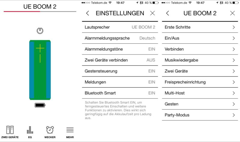 blue logitech ue boom 2 ios app 800x474 - Test – Logitech UE Boom 2 vs. Teufel Rockster XS - Bluetooth-Lautsprecher