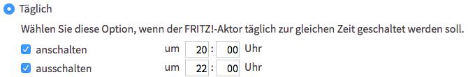 """AVM FRITZ!DECT 200 - Automatische Schaltung """"Täglich"""""""