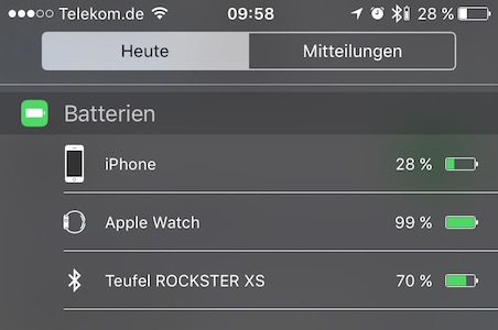 Teufel Rockster XS - Akkustand unter iOS