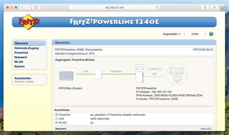 AVM FRITZ!Powerline 1240E WLAN Set - Webinterface Startseite