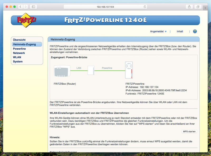 AVM FRITZ!Powerline 1240E WLAN Set - Webinterface WPS-Clone