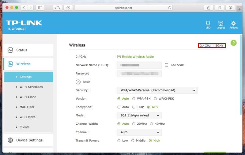 TP-Link TL-WPA8630 - Webinterface WLAN-Einstellungen