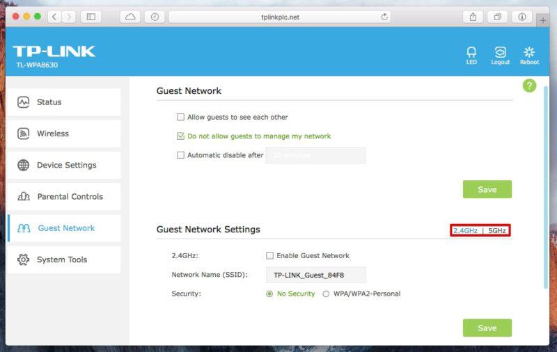 TP-Link TL-WPA8630 - Webinterface WLAN-Einstellungen für ein getrenntes Gast-WLAN