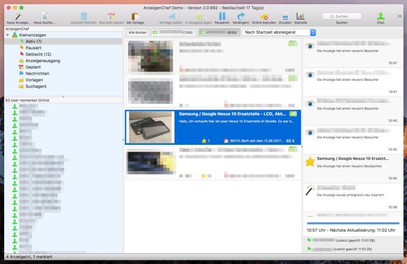 AnzeigenChef Aktiv 800x519 - Software-Tipp - AnzeigenChef - professionelle Verwaltung von eBay Kleinanzeigen